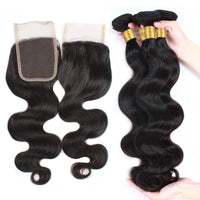 Cameraing Brazilian Human Virgin Hair Body Wave Hair 4 Bundles with 4*4 Lace Closure 4