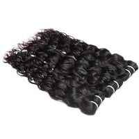 Cameraing Indian Human Virgin Hair Water Wave Hair 3 Bundles with Ear to Ear Lace Frontal 4