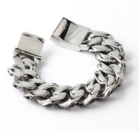 Heavy Mens Bracelet Chain 316L Stainless Steel Silver Color Punk Double Curb Cuban Rombo Link