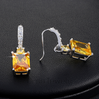 Big Yellow Stone Zircon Earring Beautiful Dangle Earring for WomQen Anniversary Gift Female Earrings