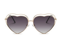Women Metal Funky Hispter Heart Shape Mirrored UV Protection Fashion Sunglasses