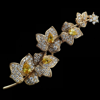 Charming Elegant Vine Plant Branch Yellow Flowers Brooch Gold Tone Micro Pave and Pear Shaped CZ Floral Vane Pin Bridal Jewelry - glabal-scm