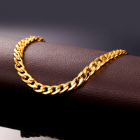 New Hot Arrival Classical Foot Chain Jewelry For Women Men Gold Color 30cm 7mm Width Cuban Link Chain Anklet Bracelet - glabal-scm