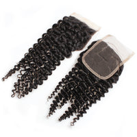 Cameraing Indian Human Virgin Hair Kinky Curly weft with closure 3 Bundles with 4*4 lace closure 7