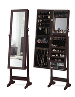LED Light Jewelry Cabinet Wall-Mount/Door-Hanging Mirror Makeup Lockable Armoire, Large Storage Organizer w/Drawers