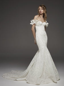 Mermaid Wedding Dress with Detachable Off-the-Shoulder