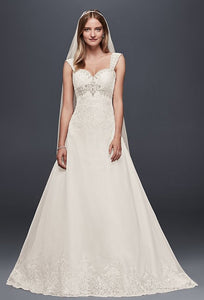 Organza Empire Wedding Dress with Removable Straps