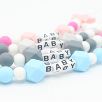 Personalised Name Silicone Baby Pacifier Clips Chain Nipple Pacifier Chain with Mouse Holder for Baby, Baby Shower Gift - glabal-scm