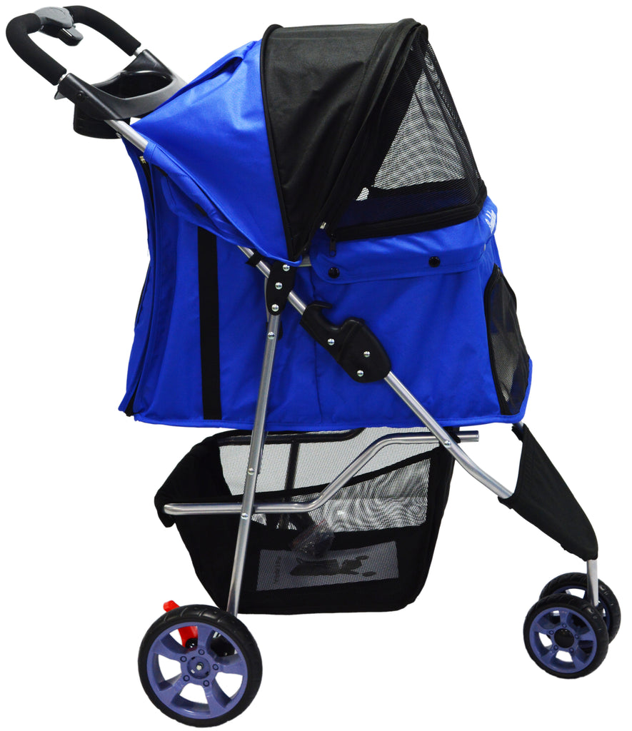 Dog / Cat / Pet Stroller Easy Walk Folding Travel Carrier Compact, Large Wheels, Lightweight, Zipper Entry, Reversible Handlebar, Strolling Cart, Strong Stable (3 wheel ) - Ms Virgin Hair