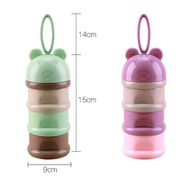 3 layer Frog Style Portable Baby Food Storage Box Essential Cereal Cartoon Milk Powder Boxes Toddle Kids Formula Milk Container - glabal-scm