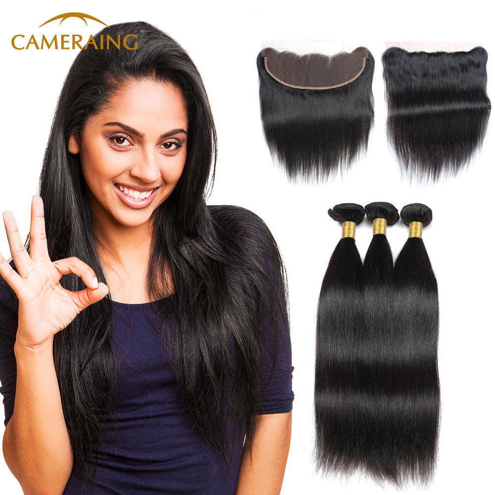 Cameraing Indian Human Virgin Hair Straight Hair 3 Bundles with Ear to Ear Lace Frontal 1
