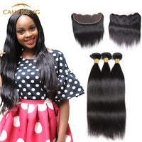 Cameraing Brazilian Human Virgin Hair Straight Hair 3 Bundles with Ear to Ear Lace Frontal