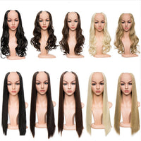 180-200g U-Part Synthetic Hair Extension Clips ins Straight Curly Wavy 3/4 Full Head Wig False Hair Wigs Brown Blonde