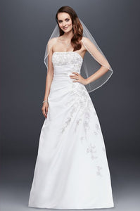 Strapless A-line Wedding Dress with Side Drape