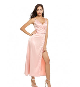 Satin Spaghetti Strap Split Backless Wrap Maxi Dress