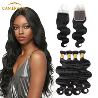 Cameraing Indian Human Virgin Hair Body Wave Hair 4 Bundles with 4*4 Lace Closure