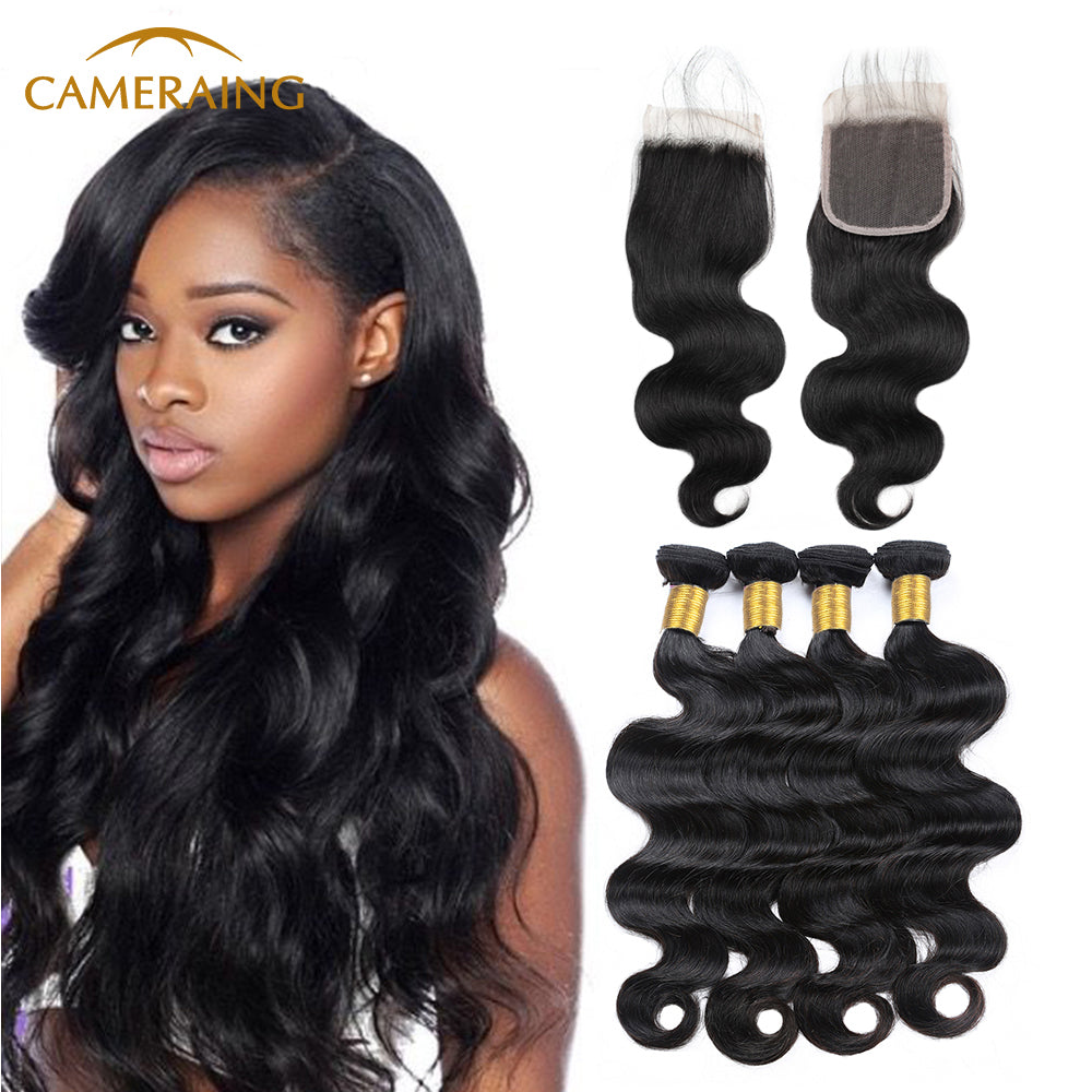 Cameraing Brazilian Human Virgin Hair Body Wave Hair 4 Bundles with 4*4 Lace Closure 1