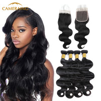 Cameraing Brazilian Human Virgin Hair Body Wave Hair 4 Bundles with 4*4 Lace Closure