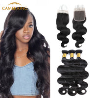 Cameraing Brazilian Human Virgin Hair Body Wave weft with closure 3 Bundles with 4*4 lace closure