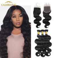 Cameraing Indian Human Virgin Hair Body Wave Weft with Closure 3 Bundles with 4*4 Lace Closure