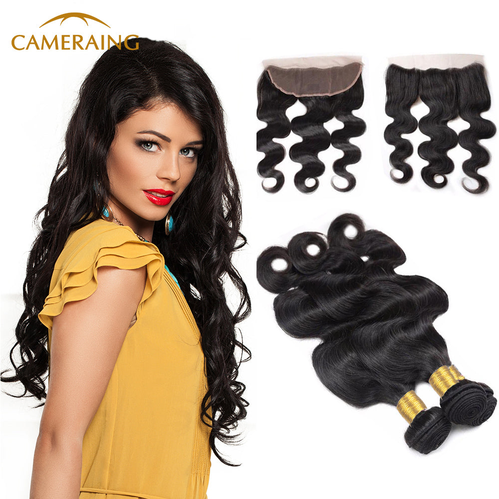Cameraing Brazilian Human Virgin Hair Body Wave Hair 3 Bundles with Ear to Ear Lace Frontal 1