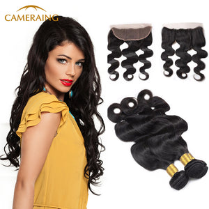 Cameraing Brazilian Human Virgin Hair Body Wave Hair 3 Bundles with Ear to Ear Lace Frontal - Ms Virgin Hair