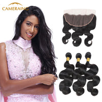 Cameraing Indian Human Virgin Hair Body Wave Hair 3 Bundles with Ear to Ear Lace Frontal