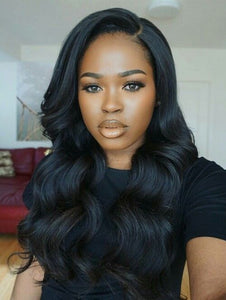 Cameraing Brazilian Human Virgin Hair Pre-Plucked Body Wave Lace Frontal Wig 1