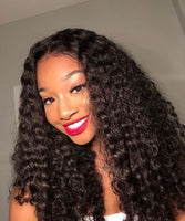 Cameraing Brazilian Human Virgin Hair Pre-Plucked Deep Wave Lace Frontal Wig