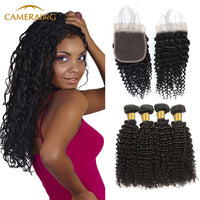 Cameraing Brazilian Human Virgin Hair Kinky Curly Hair 4 Bundles with 4*4 Lace Closure