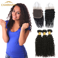 Cameraing Indian Human Virgin Hair Kinky Curly weft with closure 3 Bundles with 4*4 lace closure 1