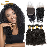 Cameraing Indian Human Virgin Hair Kinky Curly Hair 4 Bundles with 4*4 Lace Closure