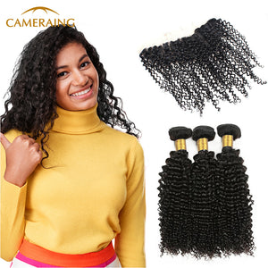 Cameraing Brazilian Human Virgin Hair Kinky Curly Hair 3 Bundles with Ear to Ear Lace Frontal 1