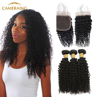 Cameraing Brazilian Human Virgin Hair Kinky Curly Weft with Closure 3 Bundles with 4*4 Lace Closure