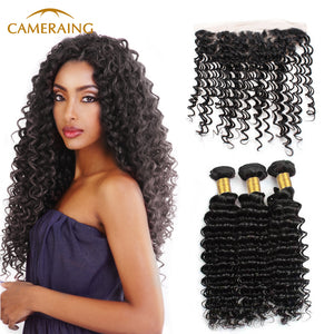 Cameraing Brazilian Human Virgin Hair Deep Wave Hair 3 Bundles with Ear to Ear Lace Frontal 1