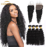 Cameraing Indian Human Virgin Hair Deep Wave Hair 4 Bundles with 4*4 Lace Closure