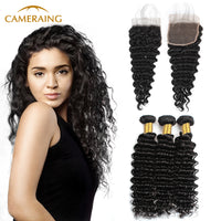 Cameraing Brazilian Human Virgin Hair Deep Wave weft with closure 3 Bundles with 4*4 lace closure