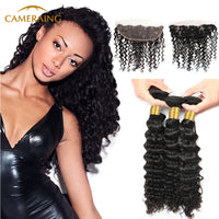 Cameraing Indian Human Virgin Hair Deep Wave Hair 3 Bundles with Ear to Ear Lace Frontal