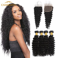 Cameraing Brazilian Human Virgin Hair Deep Wave Hair 4 Bundles with 4*4 Lace Closure