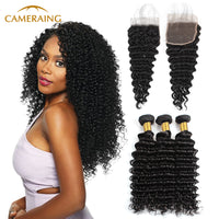Cameraing Indian Human Virgin Hair Deep Wave Weft with Closure 3 Bundles with 4*4 Lace Closure