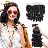 Cameraing Brazilian Human Virgin Hair Loose Wave Hair 3 Bundles with Ear to Ear Lace Frontal