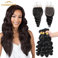 Cameraing Indian Human Virgin Hair Loose Wave Hair 4 Bundles with 4*4 Lace Closure