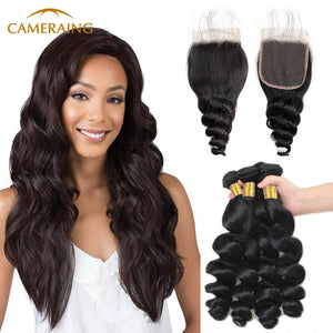 Cameraing Indian Human Virgin Hair Loose Wave Hair 4 Bundles with 4*4 Lace Closure 1
