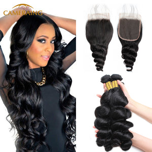 Cameraing Brazilian Human Virgin Hair Loose Wave weft with closure 3 Bundles with 4*4 lace closure 1