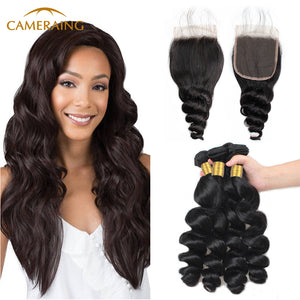 Cameraing Brazilian Human Virgin Hair Loose Wave Hair 4 Bundles with 4*4 Lace Closure 1