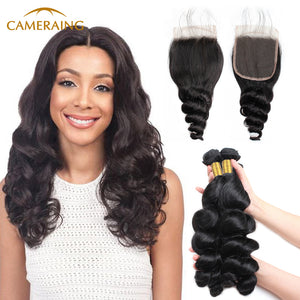 Cameraing Indian Human Virgin Hair Loose Wave weft with closure 3 Bundles with 4*4 lace closure 1
