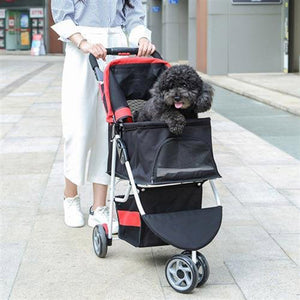 Dog / Cat / Pet Stroller Easy Walk Folding Travel Carrier Compact, Large Wheels, Lightweight, Zipper Entry, Reversible Handlebar, Strolling Cart, Strong Stable (3 wheel )