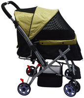 Dog / Cat / Pet Stroller Easy Walk Folding Travel Carrier Compact, Large Wheels, Lightweight, Zipper Entry, Reversible Handlebar, Strolling Cart, Strong Stable ( 4 wheel )