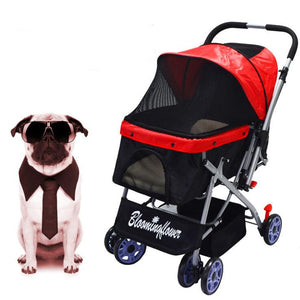 Dog / Cat / Pet Stroller Easy Walk Folding Travel Carrier Compact, Large Wheels, Lightweight, Zipper Entry, Reversible Handlebar, Strolling Cart, Strong Stable ( 4 wheel ) - Ms Virgin Hair