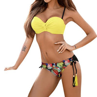Sexy Solid Bikini New Patchwork Swimsuit Women bandage Bandeau Swimwear Female Bikini Set Summer swimsuits separate Biquini